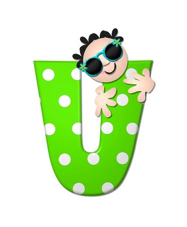bahama: The letter U, in the alphabet set Bahama Sunny, is vivid green with large white polka dots.  Beach dude peeks his head in and around letter holding it with his hands.