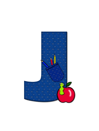 tilted: The letter J, in the alphabet set School Days, in dressed in denim material with tilted pocket filled with pencils or crayons.  An apple with a worm sometimes decorates base of letters.