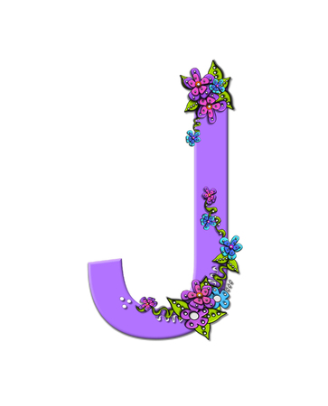 The soft, lilac letter J, in the alphabet set Burst of Spring Lilac is decorated with bouquets of 3D flowers, with dots in white and black and vines of green. Stock Photo