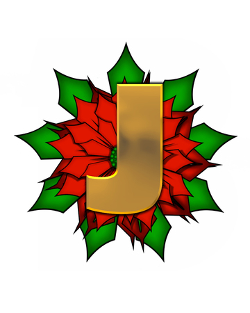 The letter J, in the alphabet set Christmas Poinsettia is shiny gold metallic.  Letter sits on a large red, poinsettia.