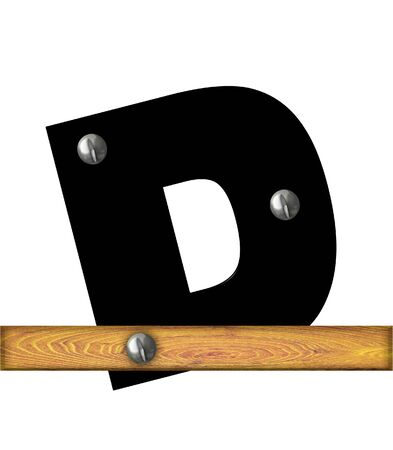 The letter D, in the alphabet set Alphabet Building, is black and riveted with silver screws to a wooden board. Stock Photo