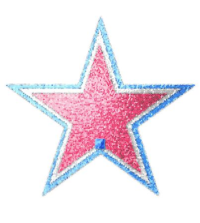 independance: Period, in the alphabet set Red White and Blue is blue metallic.  Letter sits on three mosaic stars of red, white and blue. Stock Photo