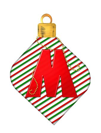The letter M, in the alphabet set Pinstripe Ornament, is red.  Letter sits on red and green striped Christmas ornament.