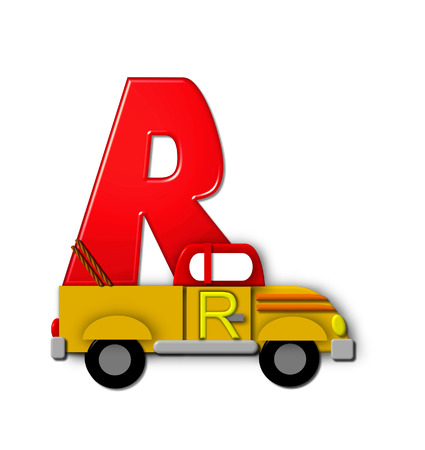 r transportation: The letter R, in the alphabet set Alphabet On the Go is tied with rope to transportation vehicles in different colors, shapes and sizes.  Letter is 3D, red and ready to GO! Stock Photo