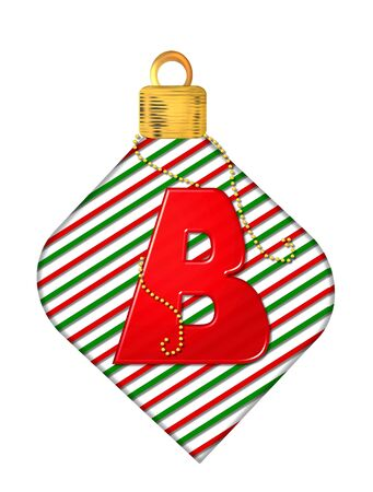 The letter B, in the alphabet set Pinstripe Ornament, is red.  Letter sits on red and green striped Christmas ornament.