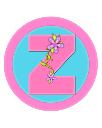 The letter Z, in the alphabet set Bouquet in Pastels, is soft pink.  Letter is decorated with flowers and sits on circles in aqua and pink.