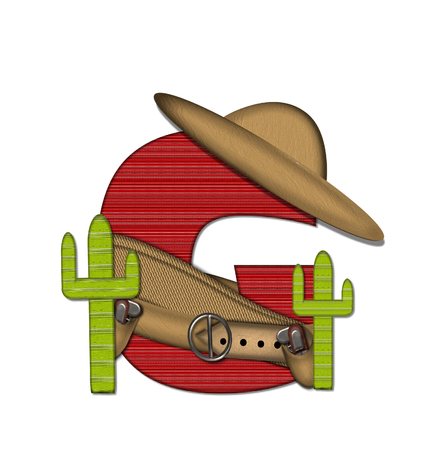 theif: The letter G, in the alphabet set Bandido, is a red lined, tight woven pattern.  Letter is wearing a gun belt and blanket with a somberro on top.  Two cacti sit at each side. Stock Photo