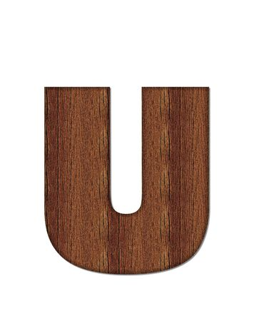 wood grain: The letter U, in the alphabet set Wood Grain resembles paneling or finished wood grain. Stock Photo