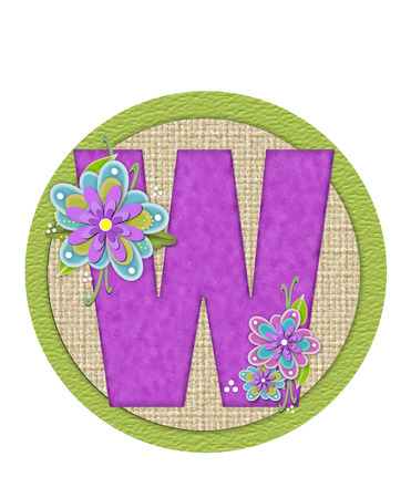 The letter W, in the alphabet set Backyard Bouquet, is lilac and decorated with layered flowers in blue and lilac.  Background circle has woven texture and outlined in green. Stock Photo