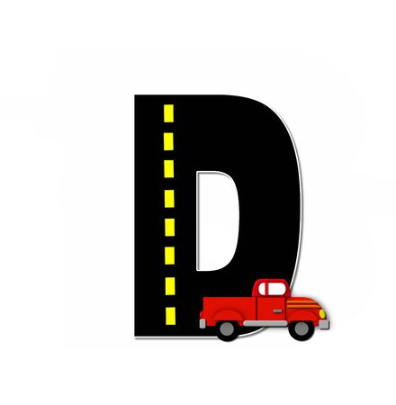 dividing line: The letter D, in the alphabet set Transportation by Road, is black with yellow dividing line representing a black top road.  Colorful, motorized vehicle navigates outside of letter.