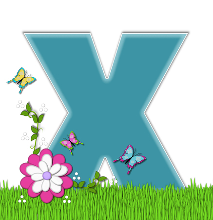 flutter: The letter X, in the alphabet set Happy Springtime, is turquoise.  Letter is sitting on bright green grass and is decorated with flower and vines.  Butterflies flutter around letter. Stock Photo