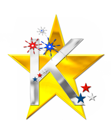 scrap gold: The letter K, in the alphabet set Patriotism is silver metalic.  Fireworks and stars decorate letter with red, white and blue.  Golden star serves as background.