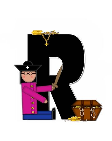 loot: The letter R, in the alphabet set Children Pirates, is black outlined with white.  Children play pirates with wooden sword, treasure chest, gold and pearls. Stock Photo