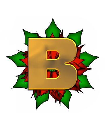 The letter B, in the alphabet set Christmas Poinsettia is shiny gold metallic.  Letter sits on a large red, poinsettia. Stock fotó
