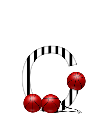 The letter C,in the alphabet set Referee, is black and white striped.  A whistle, on a black ribbon, and basketballs decorate each letter.