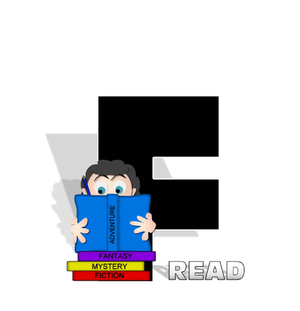 genre: The letter F, in the alphabet set Absorbed in Reading, is black and decorated with books and people absorbed in reading.  Stark shadow hangs behind letter.  Books have genre printed on spine binding. Stock Photo