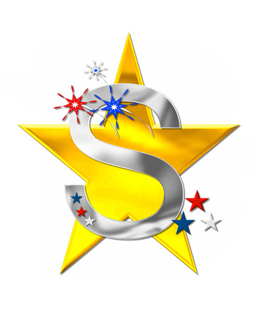 The letter S, in the alphabet set Patriotism is silver metalic.  Fireworks and stars decorate letter with red, white and blue.  Golden star serves as background.