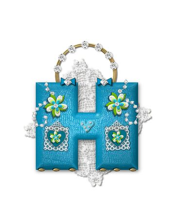 The letter H, in the alphabet set Bling Bag, depicts aqua letter as a blinged out purse with gold handle.  Letter has lace, diamonds and flowers.  Background framing letter is a lace handkerchief.