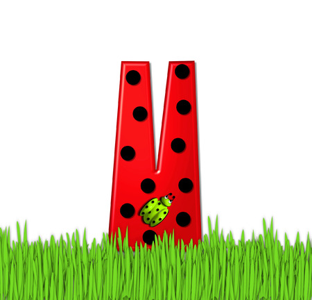 tall grass: The red letter V, in the alphabet set Lady Bug Red, has large black polka dots and is decorated with 3D ladybugs.  Letter is nestled in tall, garden grass.