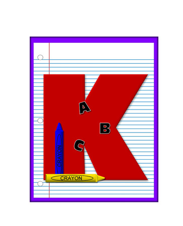 notebook paper: The letter K, in the alphabet set Grade School Homework  is  red and and sits on background of notebook paper.  Crayons and ABCs decorate letter.