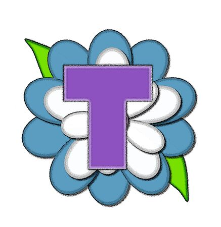 The letter T, in the alphabet set Flower Pin Blue, is purple with soft white outline.  Letter sits on large, blue and white flower.