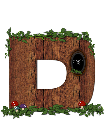 The letter D, in the alphabet set Log is filled with wod texture.  Vines and colorful mushrooms grow around letter.  Some letters have knot holes with peeking eyes.