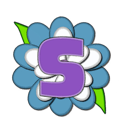 The letter S, in the alphabet set Flower Pin Blue, is purple with soft white outline.  Letter sits on large, blue and white flower.