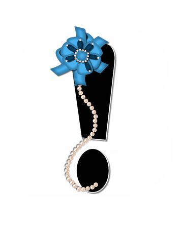 lay: Exclamation point, in the alphabet set Ribbon Trimmed, is black, outlined with white.  Letter is decorated with colorful bow trimmed with pearls.  Strands of pearls fall from bow and lay at bottom of letter. Stock Photo