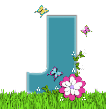 flower vines: The letter J, in the alphabet set Happy Springtime, is turquoise.  Letter is sitting on bright green grass and is decorated with flower and vines.  Butterflies flutter around letter.