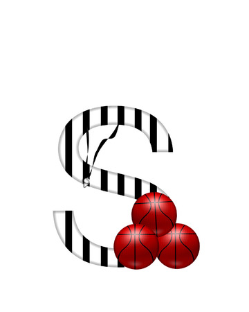The letter S,in the alphabet set Referee, is black and white striped.  A whistle, on a black ribbon, and basketballs decorate each letter. Stock Photo