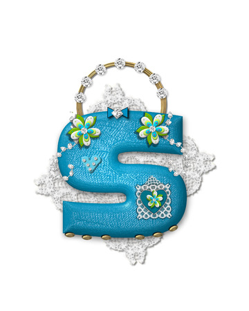 The letter S, in the alphabet set Bling Bag, depicts aqua letter as a blinged out purse with gold handle.  Letter has lace, diamonds and flowers.  Background framing letter is a lace handkerchief.