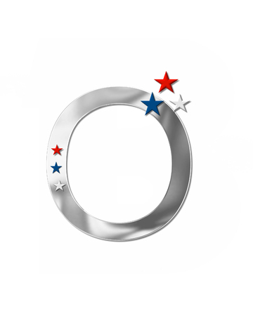 armed services: The letter O, in the alphabet set Plain Patriotism is silver metalic.  Three stars decorate letter with red, white and blue.  Letters coordinate with Alphabet Patriotism. Stock Photo