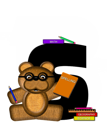 bear s: The letter S, in the alphabet set Teddy Learning, is black. Teddy bear decorates letter and he is wearing glasses.  Books and pencils surround him.