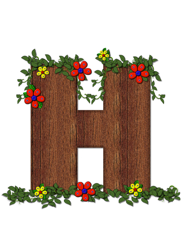 woodsy: The letter H, in the alphabet set Woodsy Owl is filled with wood texture.  3D flowers hand on vines surrounding letter.