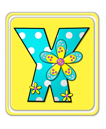 The letter X, in the alphabet set Bright Begonia, is teal with white polka dots.  2D flowers decorate letter in yellow, pink and teal.  Letter sits on bright yellow square. Stock Photo