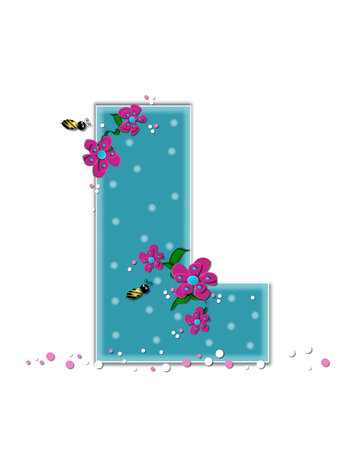 buzz: The letter L, in the alphabet set Garden Buzz, is aqua.  Each letter is decorated with soft polka dots, flowers and buzzing bees.  Base of letter is covered in pink and white confetti.