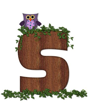 The letter S, in the alphabet set Deep Woods Owl is filled with wod texture and has vines growing all over it.  Owl sits on log-style letter.