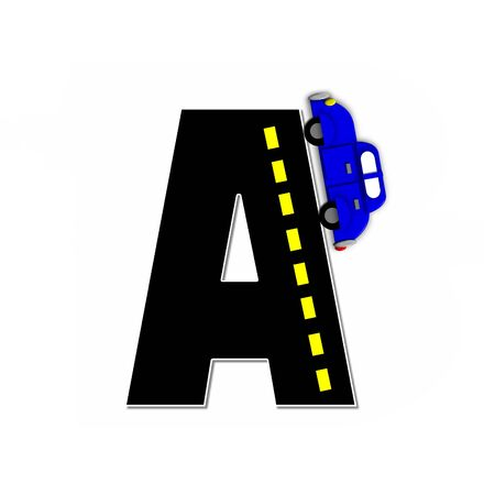 dividing line: The letter A, in the alphabet set Transportation by Road, is black with yellow dividing line representing a black top road.  Colorful, motorized vehicle navigates outside of letter.