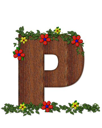 The letter P, in the alphabet set Woodsy Owl is filled with wood texture.  3D flowers hand on vines surrounding letter.