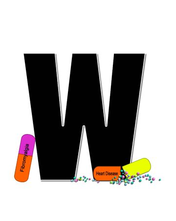 The letter W, in the alphabet set Wellness Check, is black and outlined with white.  RX capsules decorate letter with health diseases on each capsule. 版權商用圖片