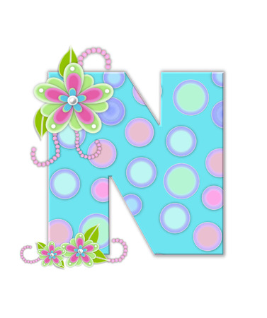 softly: The letter N, in the alphabet set Softly Spotted, is soft aqua.  Letter is decorated with pastel circles, flowers and beads. Stock Photo