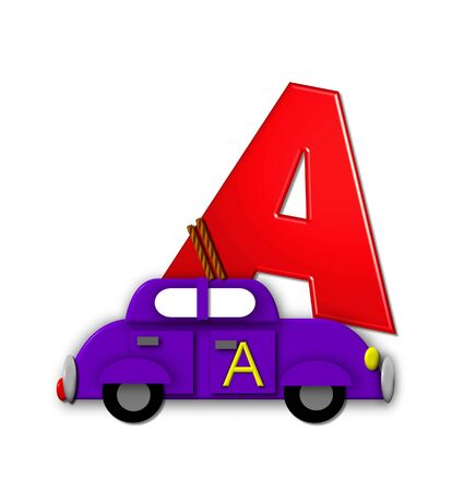 The letter A, in the alphabet set Alphabet On the Go is tied with rope to transportation vehicles in different colors, shapes and sizes.  Letter is 3D, red and ready to GO! Stock Photo