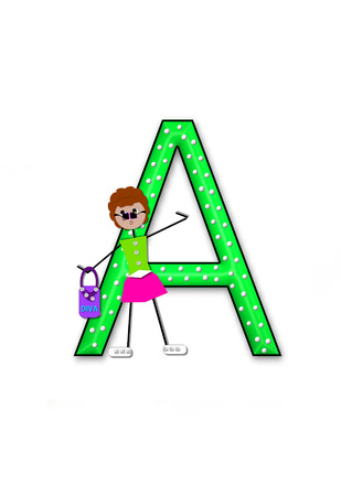 The letter A, in the alphabet set Diva Doll, is polka dotted.  Girl dolls decorate letter dressed in skirt and carrying a purse and flower. Stock Photo