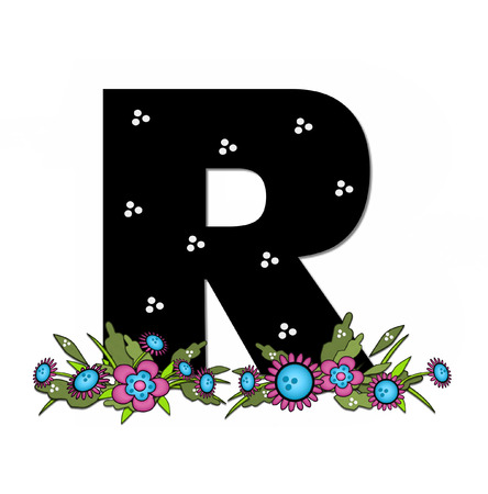 The letter R, in the alphabet set Country Lane Two is pink with black outline.  Letter sits on arrangement of country flowers in pink and blue.