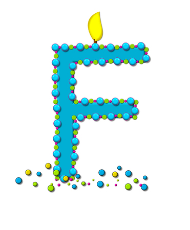 The letter F, in the alphabet set Birthday Cake Candle, is aqua and outlined in fun colored sprinkles.  Flame burns from top of letter.  More sprinkles surround base of letter. Stock Photo