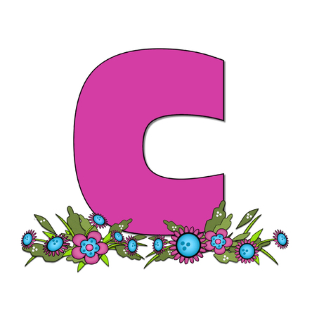 The letter C, in the alphabet set Country Lane Two is pink with black outline.  Letter sits on arrangement of country flowers in pink and blue.