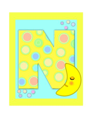 The letter N, in the alphabet set Sweet Dreams  is  a soft yellow and and decorated with polka dots and sleepy moon.  Yellow and aqua squares serve as background.