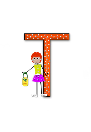 diva: The letter T, in the alphabet set Diva Doll, is polka dotted.  Girl dolls decorate letter dressed in skirt and carrying a purse and flower. Stock Photo