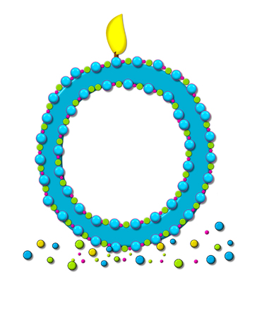 sprinkle: The letter O, in the alphabet set Birthday Cake Candle, is aqua and outlined in fun colored sprinkles.  Flame burns from top of letter.  More sprinkles surround base of letter.
