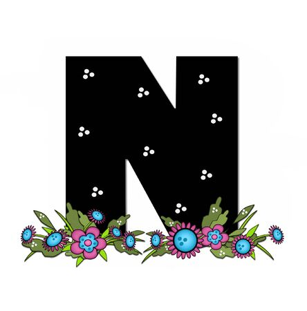 The letter N, in the alphabet set Country Lane Two is pink with black outline.  Letter sits on arrangement of country flowers in pink and blue.